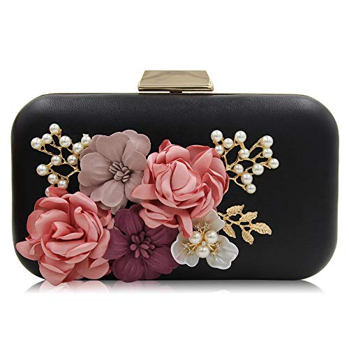 Pejgd Noir Mariée Soirée couleur De Rose Lady À Main Mariage Flower Clutch Bandoulière Bag Convient Sac A La Noce Femme Robe BFqRrB