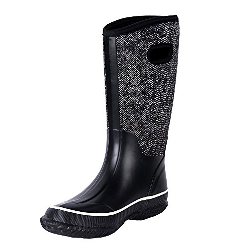 WTW Women's Rain Boots Rubber Mid Calf Winnter Protection up To -22 Fahrenheit (Size 8) (Insulated Rain Boots)