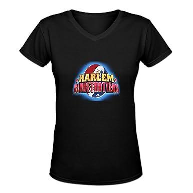 def310ccd Candyice Women's Harlem Globetrotters V Neck Short Sleeve T-Shirt S Black