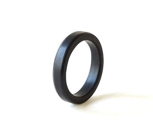 Amazon Com Black Ring Black Ebony Ring Men Wood Band Black Wood Rings Wedding Ring Wooden Wedding Jewelry Ebony Jewelry Holiday Gift Handmade