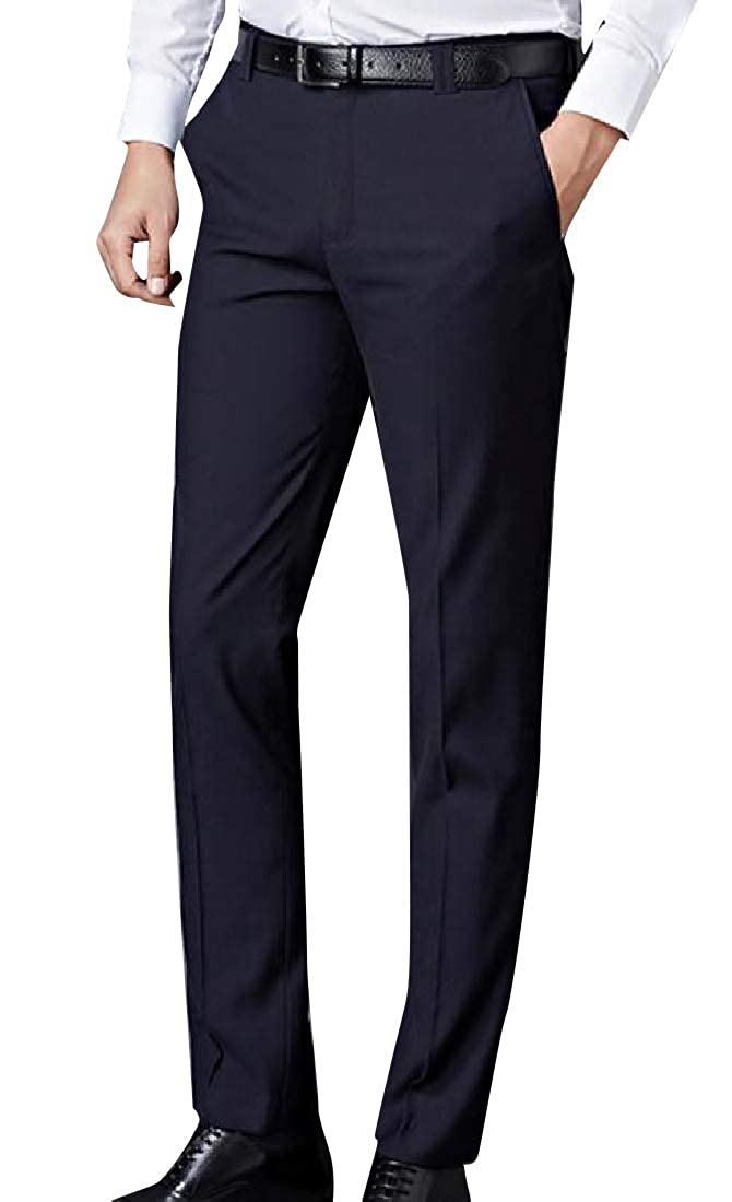 YUNY Mens Gentleman Straight-Fit Light Weight Plain-Front Pant Navy Blue 33