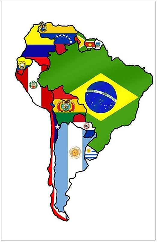 Amazon.com: CafePress - South America Flag Map - Mini Poster Print ...