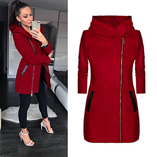 Mujeres con invierno abrigo otoño con Rojo Outwear cálido MIOIM Chaqueda cremallera para capucha dqRdBw