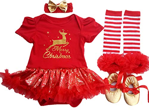 AISHIONY Baby Girl 1st Gold Reindeer Christmas Tutu Outfit Dress 4PCs S