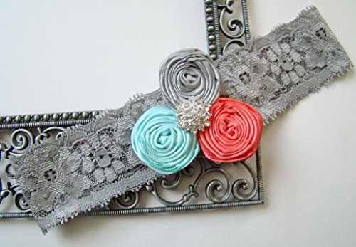 (Sexy Rosette Grey Coral Aqua Satin Rhinestone Glam Stretch Lace Bridal Vintage Wedding Keepsake Or Garter Set)