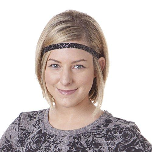 Hipsy Women's Non-Slip Headband Adjustable Glitter 2pk Black & Silver