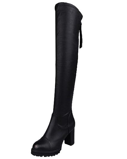 674e3810f Minetom Femme Hiver Bottes Over Knee Longues Élastique Hautes Talons Chunky  Talons Faux Cuir Bottes