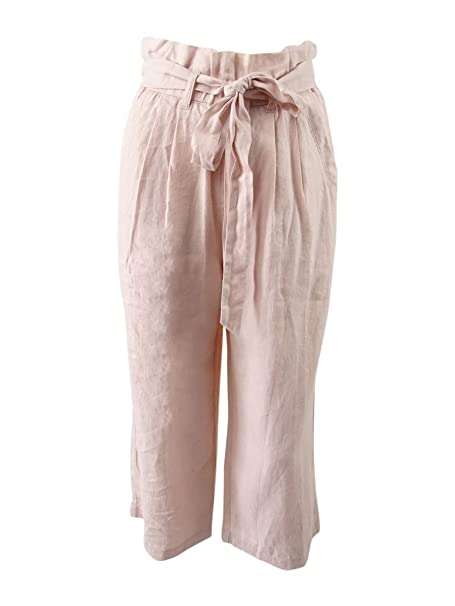 3aeede60bb9 DKNY Sport Women s Paper-Bag Waist Cropped Linen Pants (XS