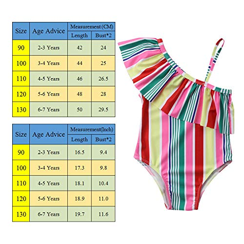 CUSHY Rainbow Striped y Kids Girls Swimwear 2-7 Years Old Age Fits y Girls One Piece Swimsuit Cute One Shoulder Bathing Suit 5 to 6 Years Old Multi