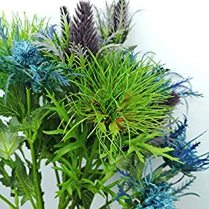 Lily Garden 6 Long Stems Artificial Eryngo Thistles Bunch of Flowers Plants for Home Decor Centerpieces (Mix) 5