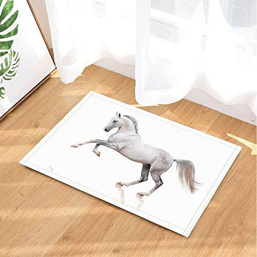 Animal Bath Rugs By GoEoo Holy White Horse Kick Up Hoof Non-Slip Doormat Floor Entryways Indoor Front Door Mat Bathroom Rugs Memory Foam Kids Bath Mat 15.7x23.23in by GoEoo