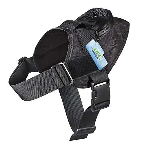 Lifeunion Tactical Dog Vest Nylon Patrol Waterproof K9 Service Dog Vest Harness for Training Hiking Outdoor Sports (Black, L) (Harness Sports Vest)