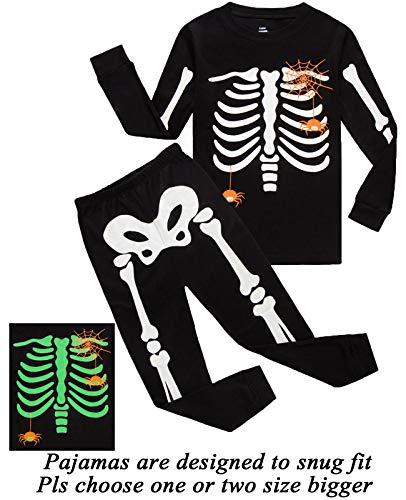 Dolphin&Fish Girls Halloween Pajamas Kids Pjs Skeleton Glow-in-The-Dark Toddler Halloween Clothes Size 4T