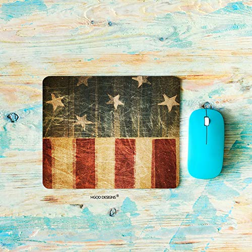 HGOD DESIGNS American Flag Gaming Mouse Pad,Vintage USA Flag Patriotic July 4th Independance Day Mousepad Rectangle Non-Slip Rubber Mouse Pads(7.9