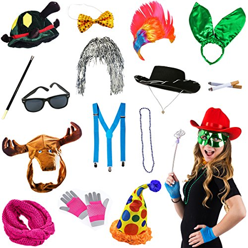 Tigerdoe Photo Booth Props - Photo Booth Parties - 14 Assorted Dress Up Costume accessories by
