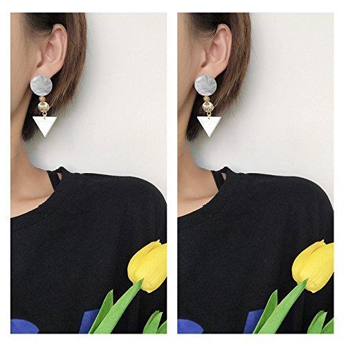 usongs 2018 simple geometric earrings earrings Japan acetic acid white marble triangle earrings vintage earrings ()