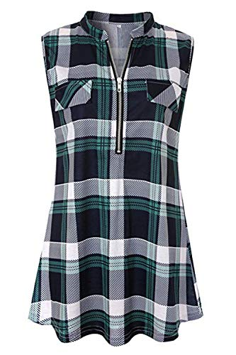 - Cyanstyle Women's V Neck Zip Up Casual Tank Top Flaps at Chest Sleeveless Tunic Green Plaid XXL