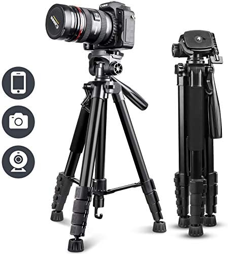 """UBeesize 67"""" Camera Tripod with Travel Bag, Cell Phone Tripod with Bluetooth Remote and Phone Holder, Compatible with All Cameras, Cell Phones, Projector, Webcam, Spotting Scopes"""
