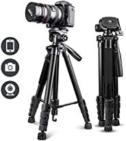 """UBeesize 67"""" Camera Tripod with Travel Bag, Cell Phone Tripod with Wireless Remote and Phone Holder, Compatibl"""