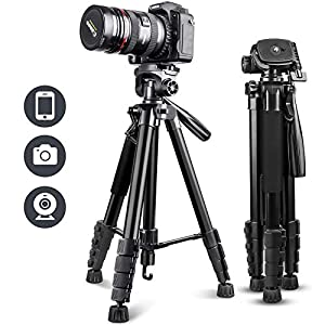 """UBeesize 67"""" Camera Tripod with Travel Bag, Cell Phone Tripod with Wireless Remote and Phone Holder, Compatible with All…"""