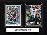 "NFL Philadelphia Eagles Men's Carson Wentz Two Card Plaque, Brown, 6""X8"""
