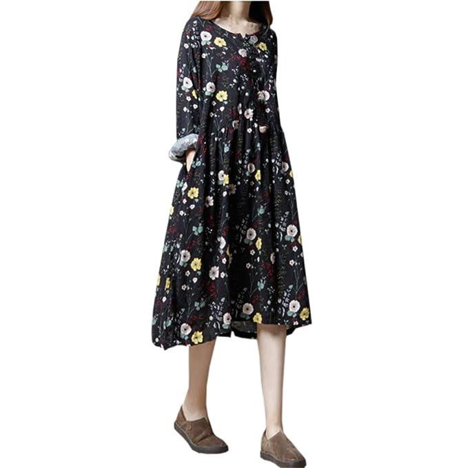 Lenfesh_Vestidos Vestido Casual Manga Larga Mujer Vestidos de Mujer Floral Estampado Cuello Redondo Mini Dress Fiesta