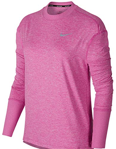 Nike Womens Element L/S Running Shirt Active Fuchsia/Pink Rise/Heather 928741-623 (Medium)