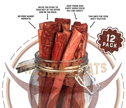 (Mission Meats Sugar Free Sampler Pack Grass Fed Beef Sticks & Bars & Healthy Free Range Turkey Sticks Gluten MSG Nitrate & Nitrite Free Paleo Friendly Snacks)