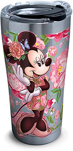 Tervis Disney Minnie Mouse Floral Stainless Steel Insulated Tumbler with Clear and Black Hammer Lid, 20 oz, Silver