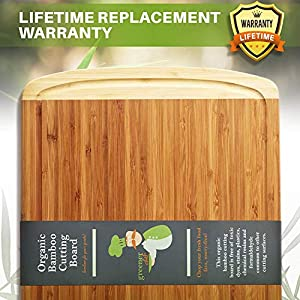 Greener Chef Extra Large Bamboo Cutting Board – Lifetime Replacement Cutting Boards for Kitchen – 18 x 12.5 Inch…