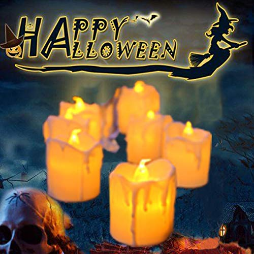 LED Flameless Votive Candles,Halloween Decoration Candle,Battery Operated Fake Candles Realistic