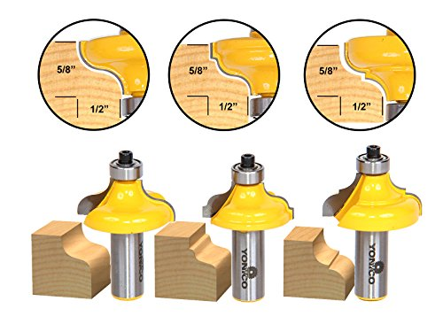 Router Ogee Industrial 1/2 Cutter - Yonico 13325 3 Bit Edge Molding Router Bit Set with Ogee 1/2-Inch Shank