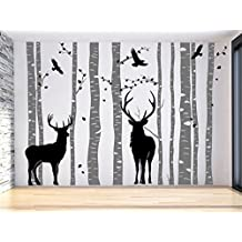 Birch Tree Wall Decal with Deer Forest Tree Wall Decals Large for Living Room Christmas Wall Decor