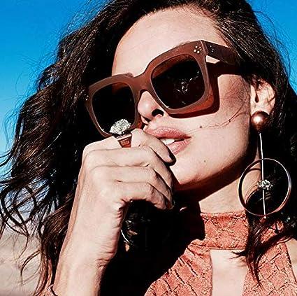 6048220ec7418 Amazon.com  zeroUV - Bold Flat Lens Oversized Square Frame Horn Rimmed  Sunglasses 50mm (Shiny Black Smoke)  Clothing
