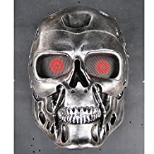 DLLL Halloween New Wire Mesh T800 Terminator Full Face Protection Paintball Mask for Masquerade parties, Mardi Gras Celebration or Halloween parties and personal collection,Outdoor Activity, Hunting & Military Purpose Use/Cosplay Resin Mask (Silver)