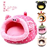 JanYoo Cute Small Animals Beds House for Hamster Guinea Pig Hedgehog and Christmas(L - Pig)