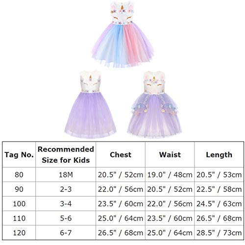 Flower Girl Rainbow Unicorn Tulle Dress with 3D Embroidery Beading Birthday Party Ball Gowns Z# Flower Purple+Headband 18 Months by IBTOM CASTLE (Image #6)