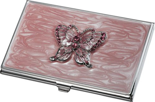 Visol Products Pari Pink Butterfly with Purple Crystals Business Card Holder Butterfly Business Card