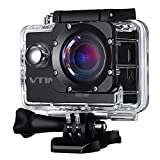 Vtin G90 Waterproof Action Camera, 1080P Sport Camera Action Cam with 170 Degree Ultra Wide Angle Lens, Full HD 12MP Digital Video Camera (with 2 Inch LCD Screen, Rechargeable Battery, Outdoor Accessories Kits)
