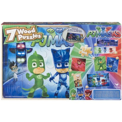 7 Pack Wood Puzzles Set PJ Masks in Wooden Storage Box (Styles May - Wooden Set Box Puzzle