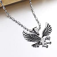 wanmanee Fashion Men Eagle Necklace Pendant Jewelry Chain Titanium Steel