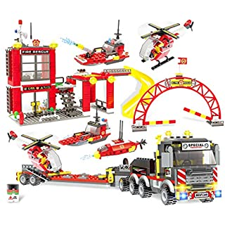 City Fire Station Building Blocks Heavy Cargo Transport Playset Construction Set Fire Engine Vehicles Fire Fighter Building Bricks with Toy Truck & Helicopter for Kids Boys Girls 6-12 (1053 Pieces)