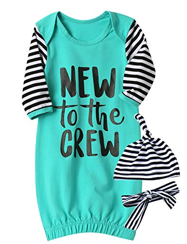 Funny New to The Crew Gown Baby Boy Girl Sleepwear Newborn Coming Home (Blue, 0-3 Months) -