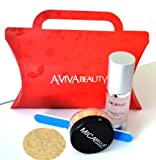 Bundle 4 Items: Mica Beauty Mineral Foundation Mf2 Sandston + Travel Size Foundation + Perfecting Primer + Eco Nail File + Red Box