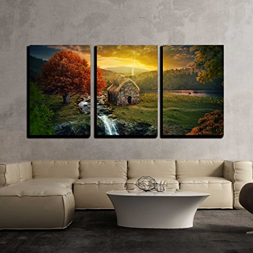 wall26 - 3 Piece Canvas Wall Art - Beautiful nature scene with cottage in the mountains near a stream. - Modern Home Decor Stretched and Framed Ready to Hang - 24