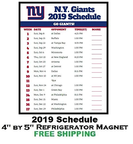 New York Giants 2019 Schedule Amazon.com: New York Giants NFL Football 2019 Schedule and Scores
