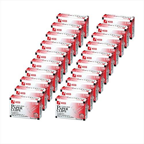 ACCO Paper Clips, #1 Size, Economy, Non-skid, 20 Boxes, 100/Box (A7072393)