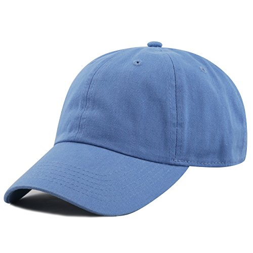 THE HAT DEPOT Washed Denim Low Profile One Size Cap (Sky Blue)