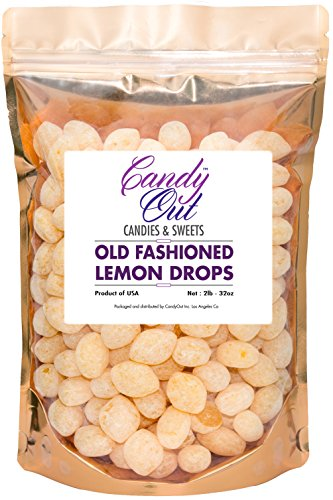 Lemon Drops 2 Pounds Old Fashioned Hard Candy in CandyOut Sealed Stand Up (Bulk Lemon Drops)
