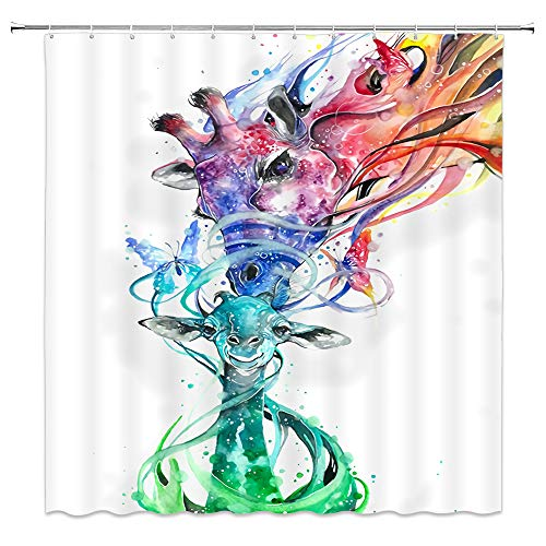 Giraffe Shower Curtain Fantasy Animal Family Creative Abstract Art Red Green White Bathroom Curtains Decor Polyester Fabric Waterproof 70 X 70 Inches Include Hooks